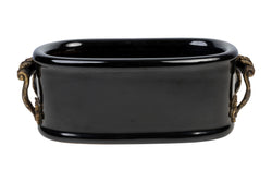 Black Porcelain Oval Pot with Ormolu Brass Handle