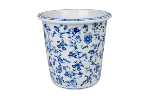 Blue and White Porcelain Floral Motif Round Pot 10""