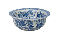 "Blue and White Porcelain Floral Motif Lipped Bowl 8"" Diameter"