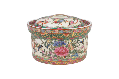 Beautiful Rose Canton Porcelain Rice Jar