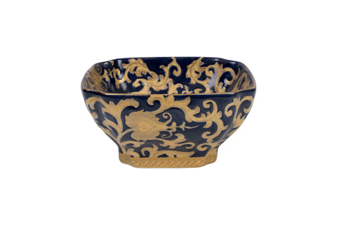 Navy and Gold Tapestry Porcelain Square Cut Corner Bowl
