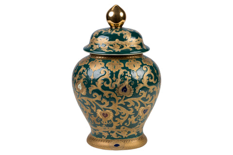 Beautiful Green and Gold Oval Porcelain Temple Jar 14""