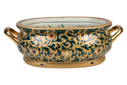 Beautiful Green and Gold Porcelain Foot Bath 19""