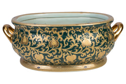 Beautiful Green and Gold Porcelain Foot Bath 21""
