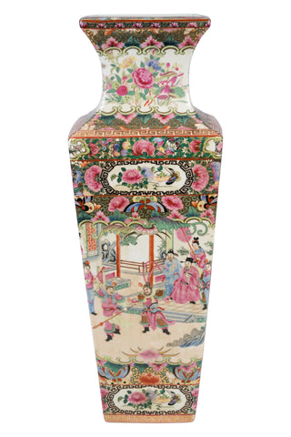 Beautiful Large Rectangular Rose Canton Porcelain Vase 24""
