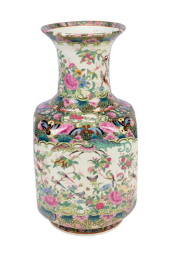 Beautiful Rose Canton Square Style Porcelain Vase 16""