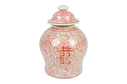 Red and White Porcelain Double Happiness Chinoiserie Lidded Temple Jar 12""