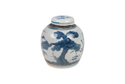 Cute Blue and White Landscape Tree Porcelain Ginger Jar 4.5""