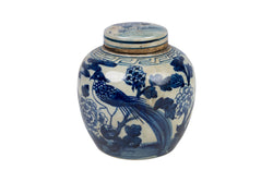 Blue and White Bird and Floral Porcelain Ginger Jar 6""