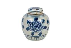 Beautiful Blue and White Floral Flower Porcelain Ginger Jar 6""