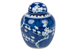 Blue and White Porcelain Cherry Blossom Ginger Jar 8""