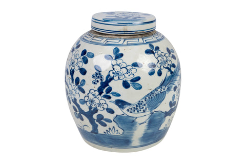 Blue and White Porcelain Ginger Jar Bird Motif 10""