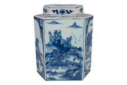 Blue and White Hexagonal Landscape Porcelain Tea Jar 12.5""