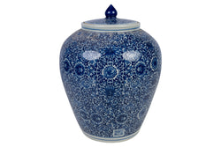 Blue and White Twisted Lotus Chinoiserie Floral Porcelain Ginger Jar 13""