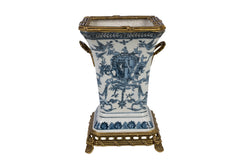 Blue and White Emblem Porcelain Square Vase Brass Ormolu Accent 10""