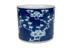 Blue and White Porcelain Cherry Blossom Ginger Jar 9""