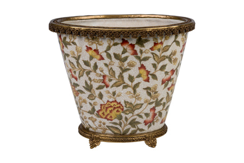 "Floral Chinoiserie Floral Porcelain Oval Flower Pot 9.5"" Brass Ormolu"