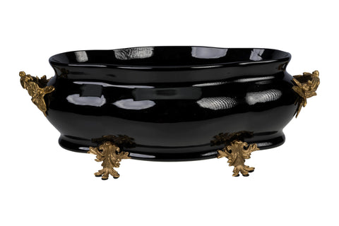 Large Black Porcelain Foot Bath Basin Brass Ormolu Accents