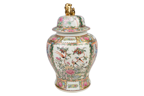 Beautiful Chinese Rose Medallion Porcelain Temple Jar 18""