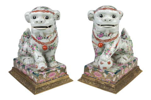Beautiful Pair of Rose Canton Style Porcelain Foo Dog with Ormolu Base 12""