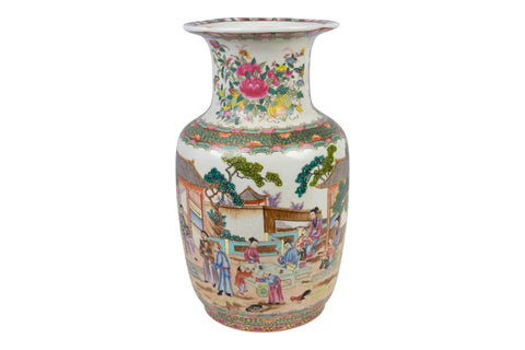 Beautiful Chinese Rose Medallion Porcelain Flower Vase 14""