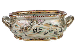 Beautiful Chinese Panda Motif Porcelain Foot Bath 16""