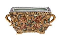 Beautiful Floral Rectangular Porcelain Pot