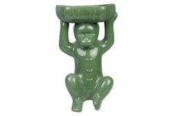 Cute Celadon Crackle Porcelain Monkey Figurine Soap Tray 19""