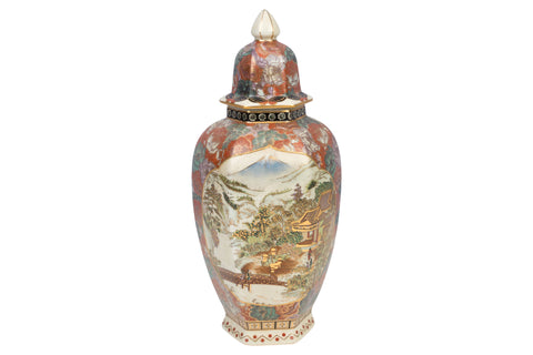 Chinese Satsuma Porcelain Hexagonal Jar 13""