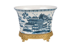 Beautiful Oval Blue and White Blue Willow Porcelain Flower Pot Ormolu Base 7.5""
