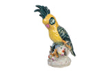Beautiful Yellow Cockatoo Porcelain Figurine On Perch 10""