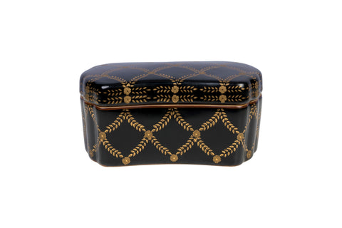 Beautiful Black and Gold Rectangular Porcelain Box