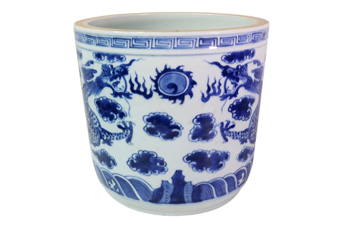 Blue and White Porcelain Dragon Motif Flower Pot 8.5""