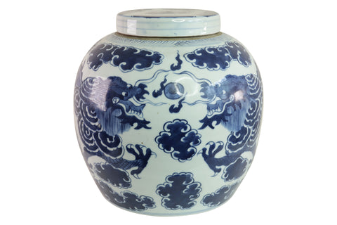 Blue and White Porcelain Cloud Dragon Porcelain Ginger Jar 11""