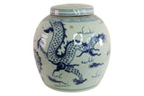 Blue and White Porcelain Long Dragon Porcelain Ginger Jar 11""