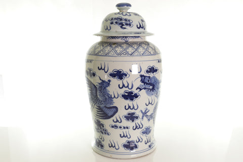 Beautiful Blue and White Porcelain Dragon and Phoenix Temple Jar 18.5""