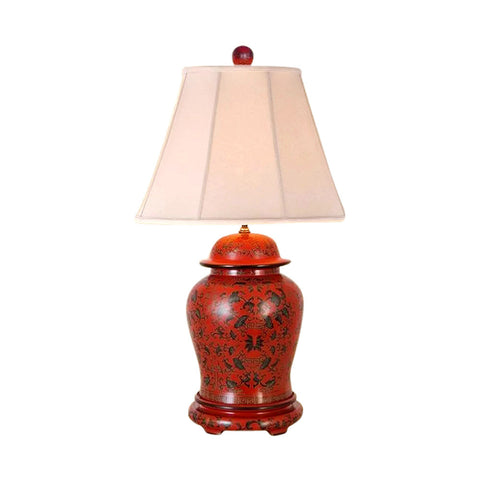 Beautiful Chinese Red Lacquer Ginger Jar Table Lamp w Shade and Finial 28.5""