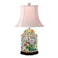 Beautiful Chinese Porcelain Scallop Ginger Jar Table Lamp Bird Floral Motif 27""