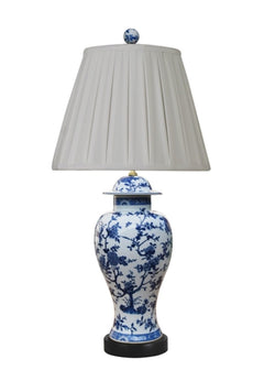 Blue and White Floral Motif Porcelain Temple Jar Table Lamp 29""