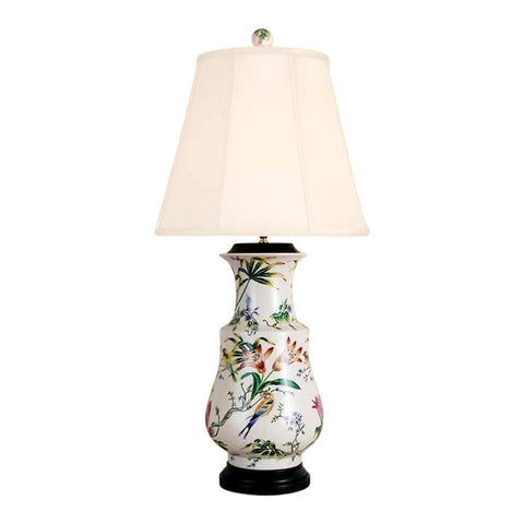 Chinese Porcelain Round Vase Floral Motif Table Lamp 34""