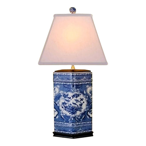 Beautiful Blue and White Porcelain Diamond Vase Floral Bird Motif Table Lamp 26""
