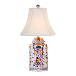 Chinese Porcelain Imari Scallop Ginger Jar Table Lamp Bird Floral Motif 25""