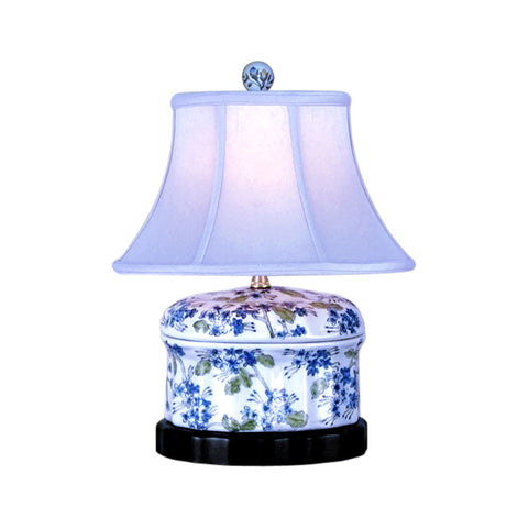 Chinese Porcelain Green Blue White Round Box Floral Motif Table Lamp 15""