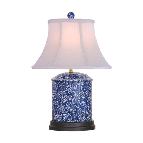 Beautiful  Blue and White Porcelain Round Vase Plum Tree Table Lamp 18""