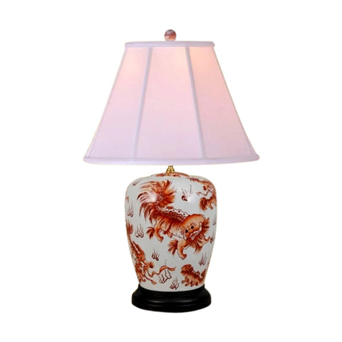 Beautiful Orange And White Chinese Foo Dog Porcelain Table Lamp 25.5""