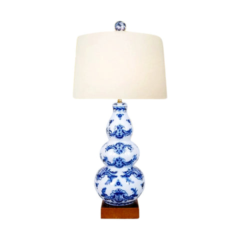 Beautiful Blue and White Porcelain Gourd Table Lamp Chinoiserie Style Art 23""