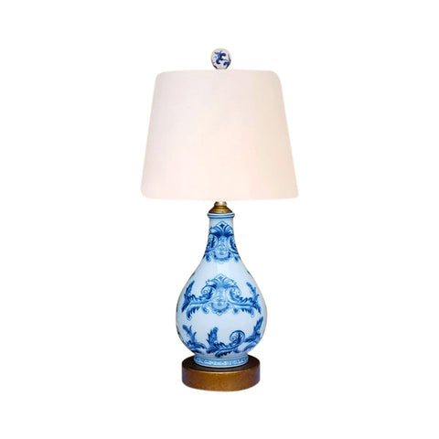 Cute Round Blue and White Chinoiserie Porcelain Table Lamp 17""