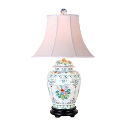 Chinese Porcelain Floral Motif Temple Jar Table Lamp 26""