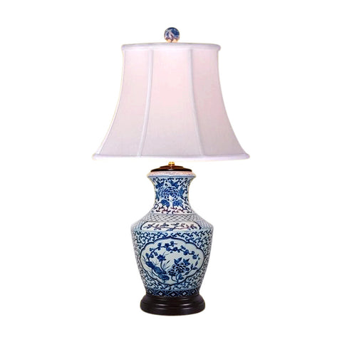 Chinese Blue and White Porcelain Vase Floral Motif Table Lamp 32""