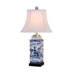 Blue and White Blue Willow Porcelain Square Jar Table Lamp w Finial 23.5""